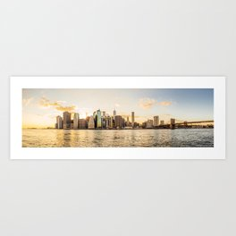 New York skyline at sunset Art Print
