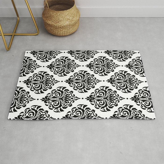 Black And White Damask Rug By Seafoam12