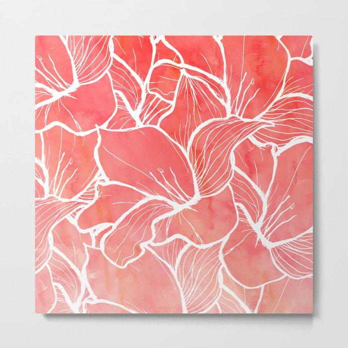 Modern white handdrawn flowers coral watercolor pattern Metal Print