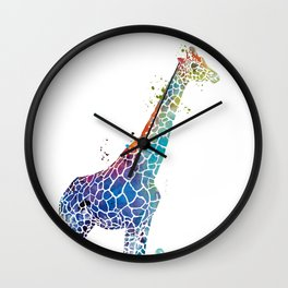 Blue Giraffe Wall Clock