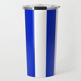 Cobalt Blue and White Wide Circus Tent Stripe Travel Mug