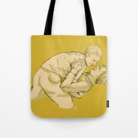 johnlock Tote Bags featuring Dancing lessons by hislastbough