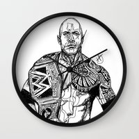 allyson johnson Wall Clocks featuring Dwayne 'The Rock' Johnson by Hollie B