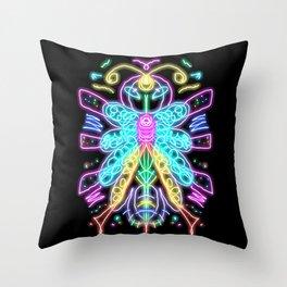 Neon Butterfly Throw Pillow