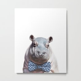 Baby Hippo With Bow Tie, Baby Animals Art Print By Synplus Metal Print
