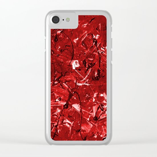 Abstract #446 Red Chaos Clear iPhone Case