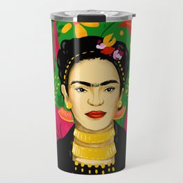 Frida Flower Kalho Art Print by Cindy Rose Studio Travel Mug