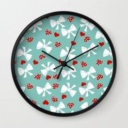Lace gift wrap aqua Wall Clock