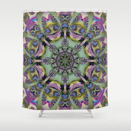 Colourful mandala with decorative shapes and tribal patterns Shower Curtain