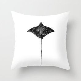 Eagle Ray Watercolor Throw Pillow