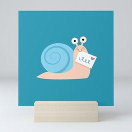 Blue snail mail Mini Art Print