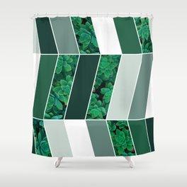 Green Herringbone #society6 #green #succulent Shower Curtain