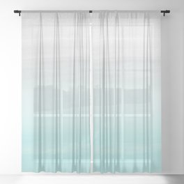 Touching Aqua Blue Gray Watercolor Abstract #1 #painting #decor #art #society6 Sheer Curtain
