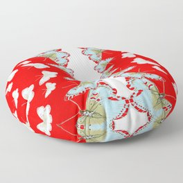 DESIGN PATTERN OF RED & WHITE BUTTERFLIES Floor Pillow