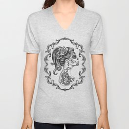 Sugar Skull Girl Cameo Unisex V-Neck
