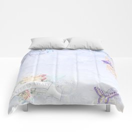 French vintage collage Comforters