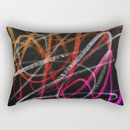 Expressive Red Orange and Magenta Lines Abstract Rectangular Pillow
