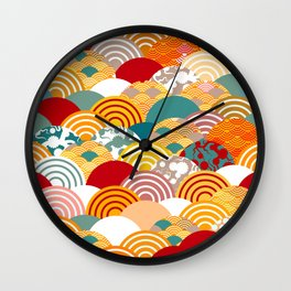 Nature background with japanese sakura flower, orange red pink Cherry, wave circle pattern Wall Clock