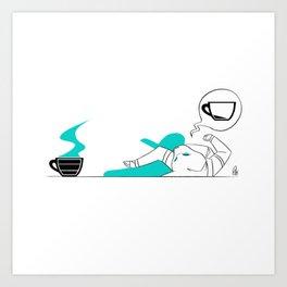 I Need Coffee (Colored) Art Print