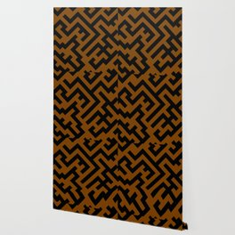 Black and Chocolate Brown Diagonal Labyrinth Wallpaper
