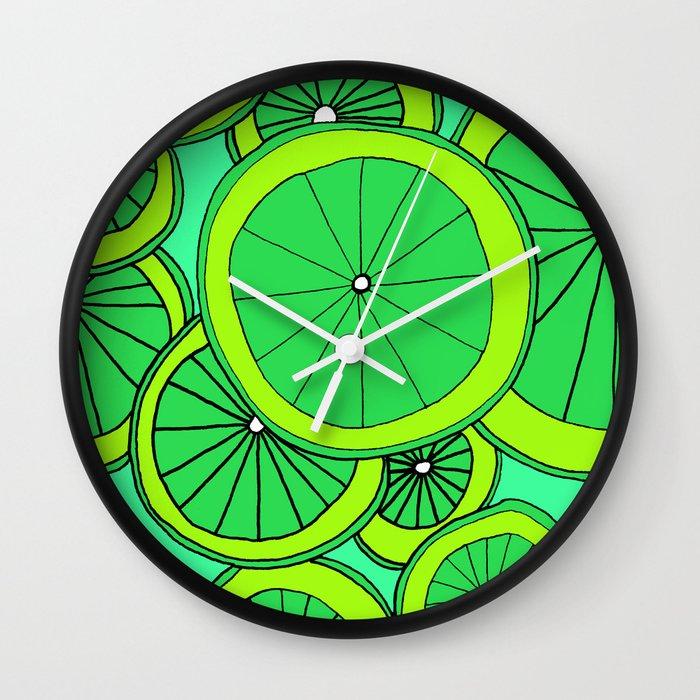 Summer Limes Citrus Art Wall Clock
