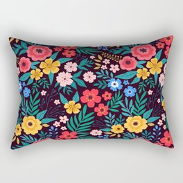 25 Amazing floral pattern with bright colorful flowers. Dark background. Rectangular Pillow