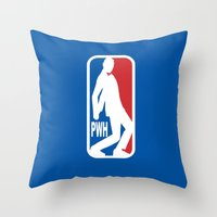pee wee Throw Pillows featuring Pee Wee League by sinistergrynn