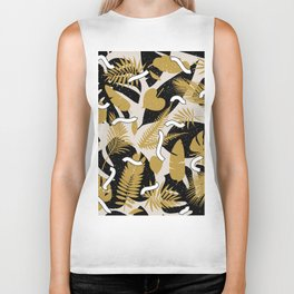 Tropical Jungle with Golden Leaves Biker Tank