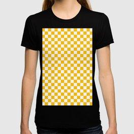 White and Amber Orange Checkerboard T-shirt