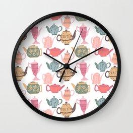 Vintage Tea Pots Time for Tea Multi on White Art Throw Pillow Wall Clock