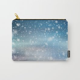 Snow Bokeh Blue Pattern Winter Snowing Abstract Carry-All Pouch