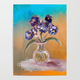 Purple And Blue Pansies In Glass Vase Poster
