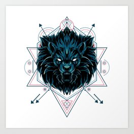 The Wild Lion sacred geometry Art Print