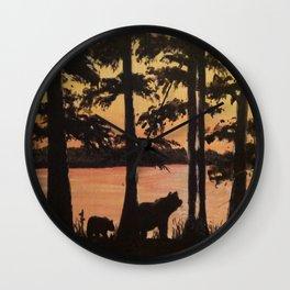Bear and Cypress Sunset Wall Clock