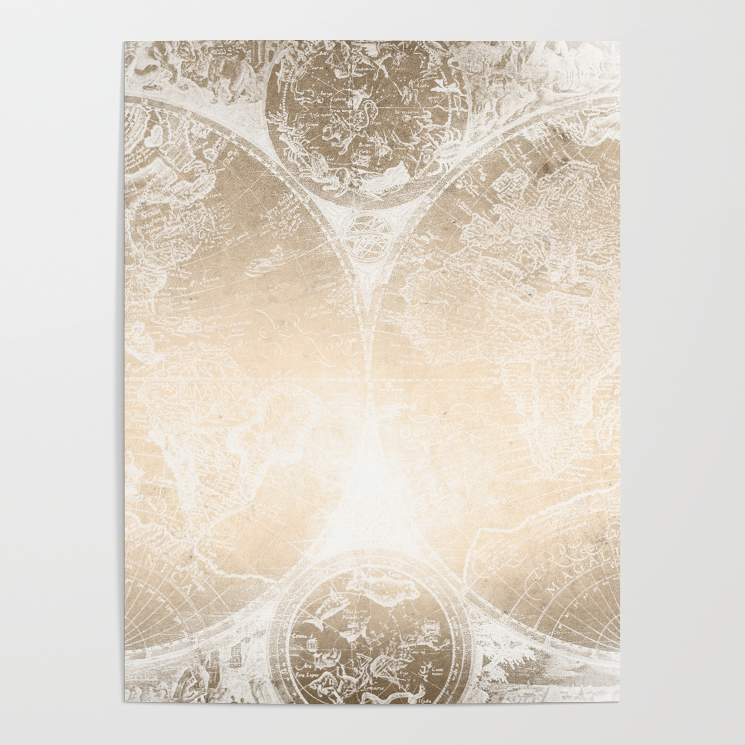 Antique World Map White Gold Poster by naturemagick