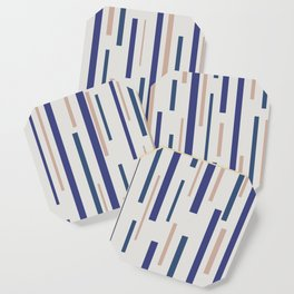 Interrupted Lines Mid-Century Modern Minimalist Pattern in Blue, Purple, and Taupe Coaster