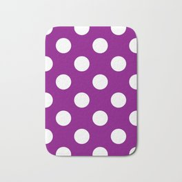 Large Polka Dots - White on Purple Violet Bath Mat