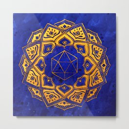 """Cosahedron, sacred geometry""  WATERCOLOR MANDALA (HAND PAINTED) BY ILSE QUEZADA Metal Print"