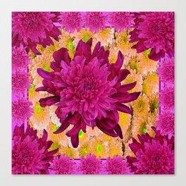 Stylized  Burgundy Purple & Yellow Chrysanthemums Floral Garden Canvas Print