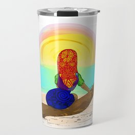 Kuna girl watching the sunset Travel Mug