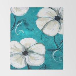Flowers in Oil Throw Blanket