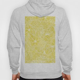 Modern trendy white floral lace hand drawn pattern on meadowlark yellow Hoody