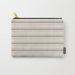 Pantone Hazelnut Nutmeg & White Thick and Thin Horizontal Lines Bold Stripe Pattern Carry-All Pouch