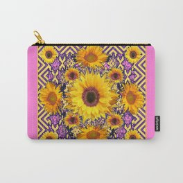 Pink Color & Yellow Sunflowers Garden Pattern Art Carry-All Pouch