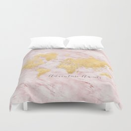 """Adventure awaits, gold and pink marble detailed world map, """"Sherry"""" Duvet Cover"""