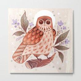 Owl Blooms Metal Print