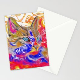 Bright Abstract Siamese Cat (Red, Blue, Gold) Stationery Cards