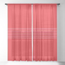 Fine Pink Lines on Red Sheer Curtain