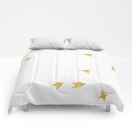 Raven Birds in Gold Copper Bronze Comforters
