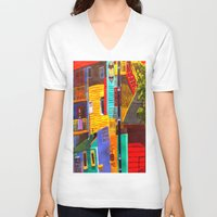 buildings V-neck T-shirts featuring SkyRainbow Buildings by SkyJay